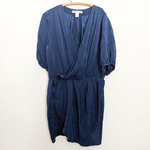 Amanda Uprichard Blue Silk Faux-Wrap Ruffle Dress